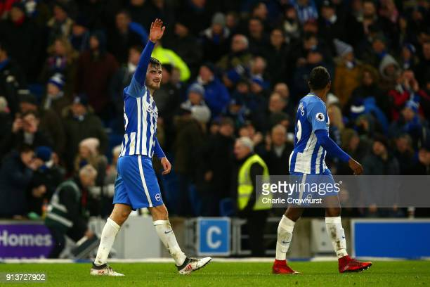 Pascal Gross of Brighton and Hove Albion celebrates scoring his side's third goal during the Premier League match between Brighton and Hove Albion...