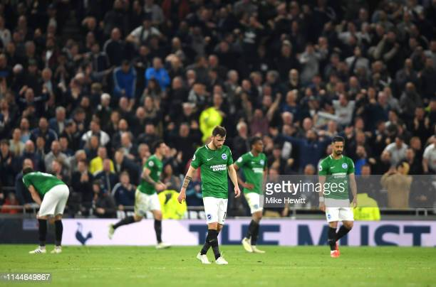 Pascal Gross of Brighton and Hove Albion looks dejected as his team concede during the Premier League match between Tottenham Hotspur and Brighton...