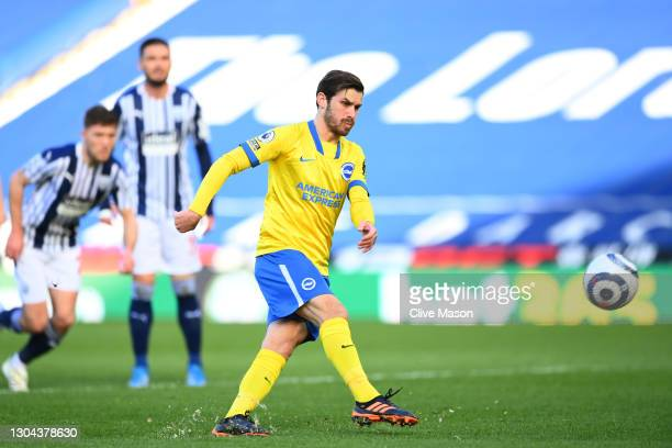 Pascal Gross of Brighton and Hove Albion misses a penalty during the Premier League match between West Bromwich Albion and Brighton & Hove Albion at...