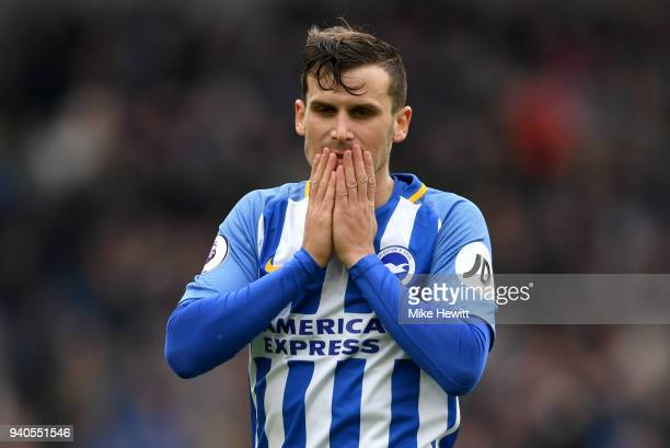 Pascal Gross of Brighton and Hove Albion reacts during the Premier League match between Brighton and Hove Albion and Leicester City at Amex Stadium...