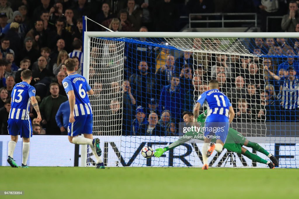 Pascal Gross of Brighton and Hove Albion scores a goal from the penalty spot during the Premier League match between Brighton and Hove Albion and Tottenham Hotspur at Amex Stadium on April 17, 2018 in Brighton, England.