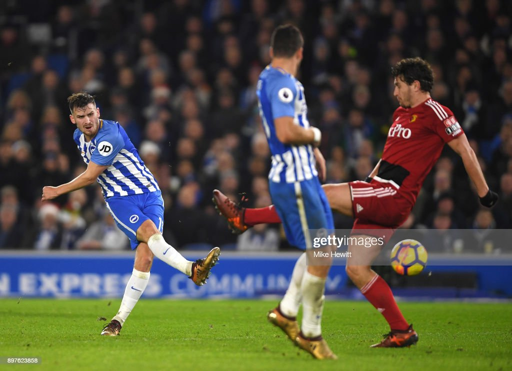 Pascal Gross of Brighton and Hove Albion scores his sides first goal during the Premier League match between Brighton and Hove Albion and Watford at Amex Stadium on December 23, 2017 in Brighton, England.