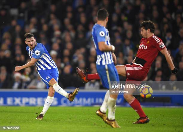 Pascal Gross of Brighton and Hove Albion scores his sides first goal during the Premier League match between Brighton and Hove Albion and Watford at...