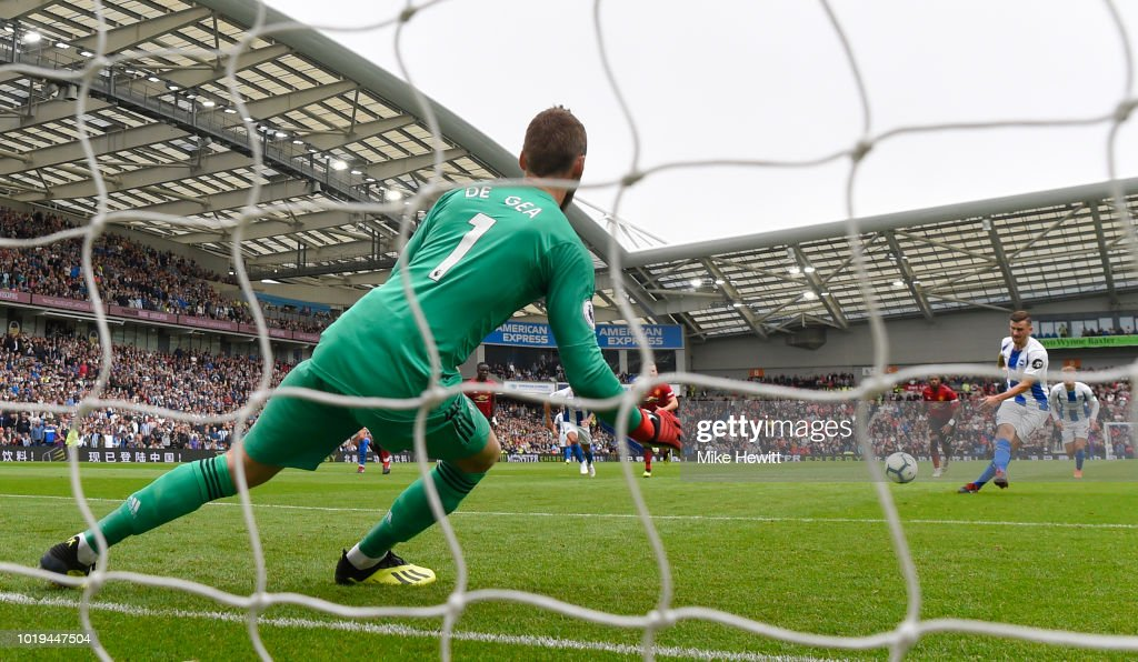 Pascal Gross of Brighton and Hove Albion scores his team's third goal from a penalty during the Premier League match between Brighton & Hove Albion and Manchester United at American Express Community Stadium on August 19, 2018 in Brighton, United Kingdom.