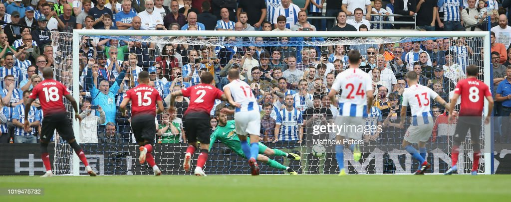 Pascal Gross of Brighton and Hove Albion scores their third goal during the Premier League match between Brighton & Hove Albion and Manchester United at American Express Community Stadium on August 19, 2018 in Brighton, United Kingdom.