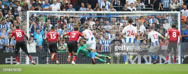 Pascal Gross of Brighton and Hove Albion scores their third goal during the Premier League match between Brighton Hove Albion and Manchester United...