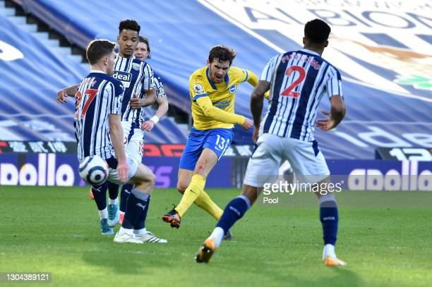 Pascal Gross of Brighton and Hove Albion shoots during the Premier League match between West Bromwich Albion and Brighton & Hove Albion at The...