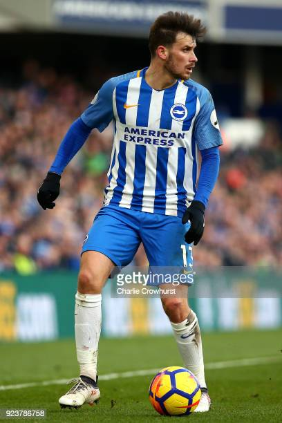 Pascal Gross of Brighton attacks during the Premier League match between Brighton and Hove Albion and Swansea City at Amex Stadium on February 24...