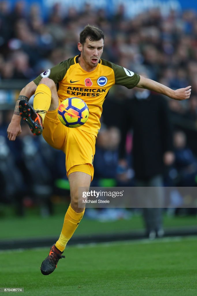 Pascal Gross of Brighton during the Premier League match between Swansea City and Brighton and Hove Albion at the Liberty Stadium on November 4, 2017 in Swansea, Wales.