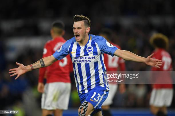 Pascal Gross of Brighton Hove Albion celebrates after scoring during the Premier League match between Brighton and Hove Albion and Manchester United...