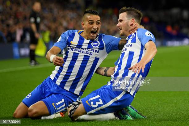 Pascal Gross of Brighton Hove Albion celebrates with teammate Anthony Knockaert after scoring the opening goal during the Premier League match...