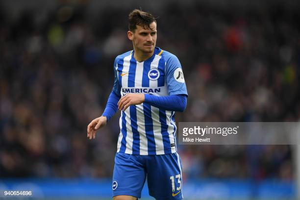 Pascal Gross of Brighton Hove Albion looks on during the Premier League match between Brighton and Hove Albion and Leicester City at Amex Stadium on...