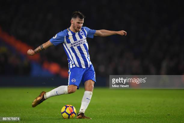 Pascal Gross of Brighton shoots during the Premier League match between Brighton and Hove Albion and Watford at Amex Stadium on December 23 2017 in...
