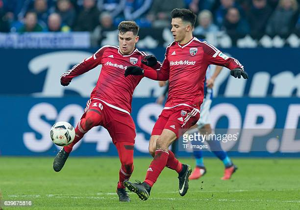Pascal Gross of Ingolstadt and Alfredo Morales of Ingolstadt in action during the Bundesliga match between FC Schalke 04 and FC Ingolstadt 04 at...