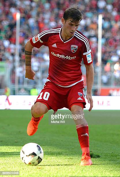 Pascal Gross of Ingolstadt controls the ball during the Bundesliga match between FC Ingolstadt 04 and Hertha BSC at Audi Sportpark on September 10...