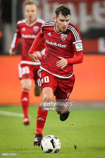 Pascal Gross of Ingolstadt controls the ball during the Bundesliga match between Bayer 04 Leverkusen and FC Ingolstadt 04 at BayArena on December 18...