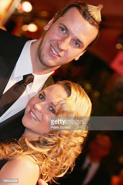 Pascal Hens and his girlfriend Angela Schleipfer attend the 2008 Sports Gala ' Ball des Sports ' at the RheinMain Hall on February 2 2008 in...