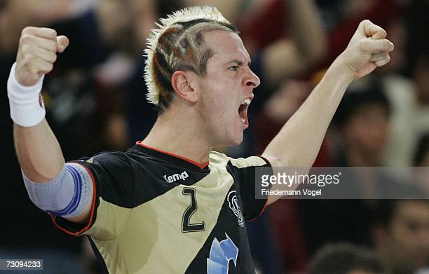Pascal Hens of Germany celebrates during the Men's Handball World Championship Group I game between Slovenia and Germany at the Gerry Weber stadium...