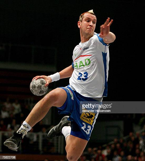 Pascal Hens of Hamburg in action during the Handball DHB German Cup game between HSV Handball and SC Magdeburg at the Sporthalle on February 14 2007...