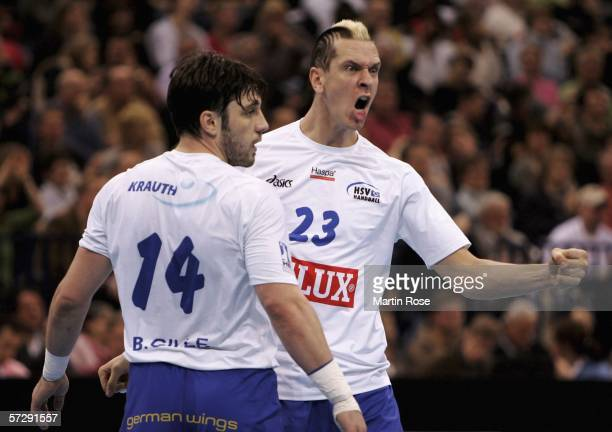 Pascal Hens of Hamburg reacts during the Handball DHB German Cup Final between HSV Handball and SG Kronau Oestringen at the Color Line Arena on April...