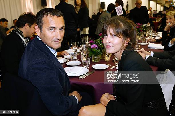 Pascal Houzelot and CoOwner of Leetha Caroline Nielsen attend the 'Societe des Amis du Musee National d'Art Moderne' Dinner at Beaubourg on January...