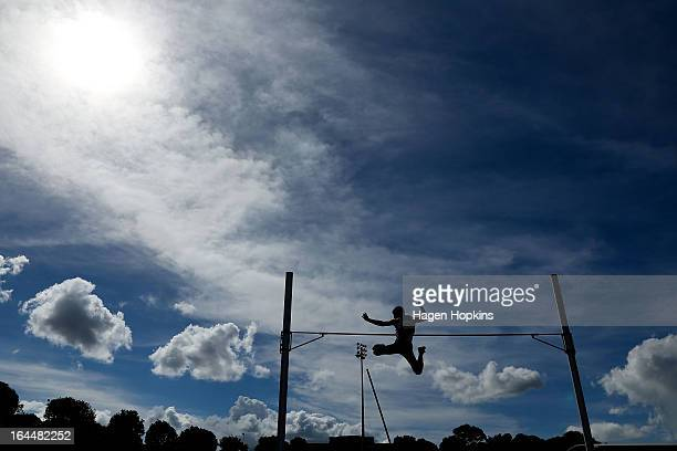 Pascal Kethers of Auckland competes in the men's under 20 pole vault during the New Zealand Track and Field Championships at Mt Smart Stadium on...
