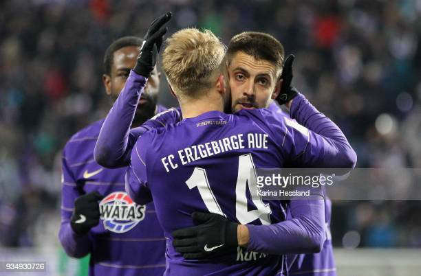 Pascal Koepke and Dimitrij Nazarov of Aue celebrate the opening goal during the second Bundesliga match between FC Erzgebirge Aue and SpVgg Greuther...