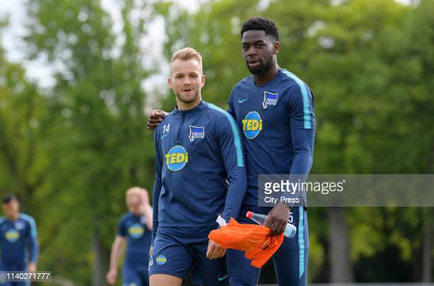 Pascal Koepke and Jordan Torunarigha of Hertha BSC during the training session on April 30 2019 at the Schenkendorfplatz in Berlin Germany