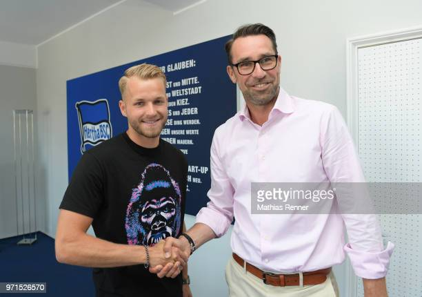 Pascal Koepke and Michael Preetz of Hertha BSC during the arrival on june 11 2018 in Berlin Germany