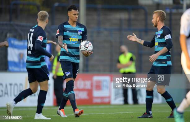 Pascal Koepke Davie Selke and Fabian Lustenberger of Hertha BSC celebrate after scoring the 01 during the friendly match between Hertha BSC and the...