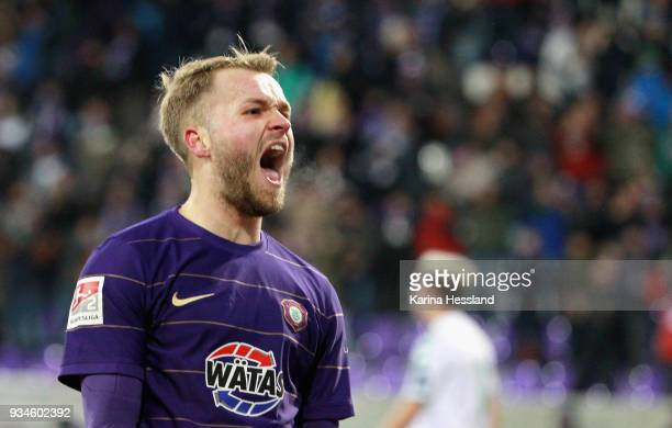 Pascal Koepke of Aue celebrates the opening goal during the second Bundesliga match between FC Erzgebirge Aue and SpVgg Greuther Fuerth at...