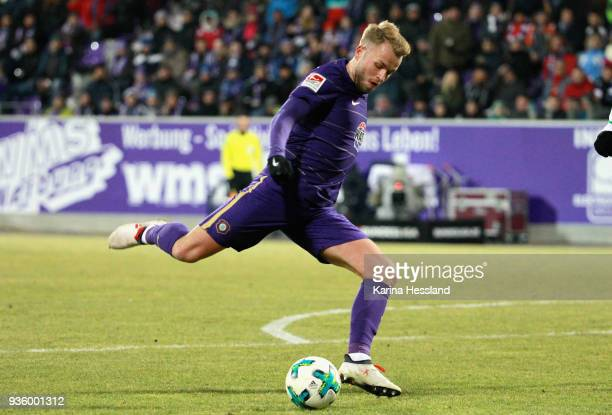 Pascal Koepke of Aue during the second Bundesliga match between FC Erzgebirge Aue and SpVgg Greuther Fuerth at SparkassenErzgebirgsstadion on March...