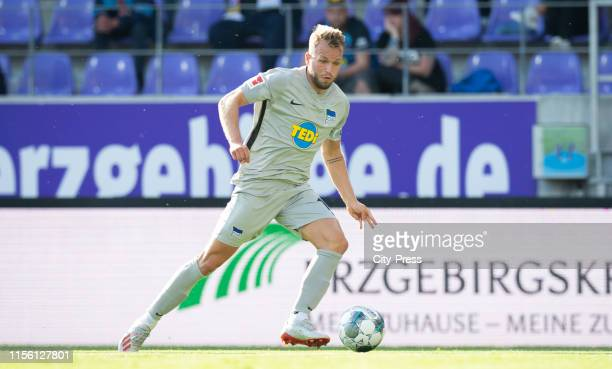 Pascal Koepke of Hertha BSC controls the ball during the exhibition match between FC Erzgebirge Aue and Hertha BSC at Erzgebirgsstadion on July 17...