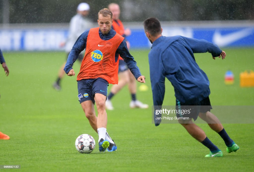 Pascal Koepke of Hertha BSC during the training at the Schenkendorfplatz on July 12, 2018 in Berlin, Germany.