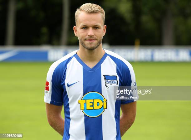 Pascal Koepke of Hertha BSC poses during the team presentation at Schenckendorffplatz on July 19 2019 in Berlin Germany