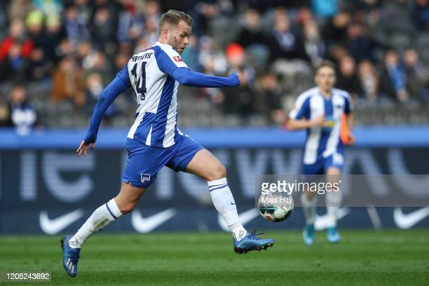 Pascal Kopke of Hertha Berlin controls the ball during the Bundesliga match between Hertha BSC and 1 FSV Mainz 05 at Olympiastadion on February 08...