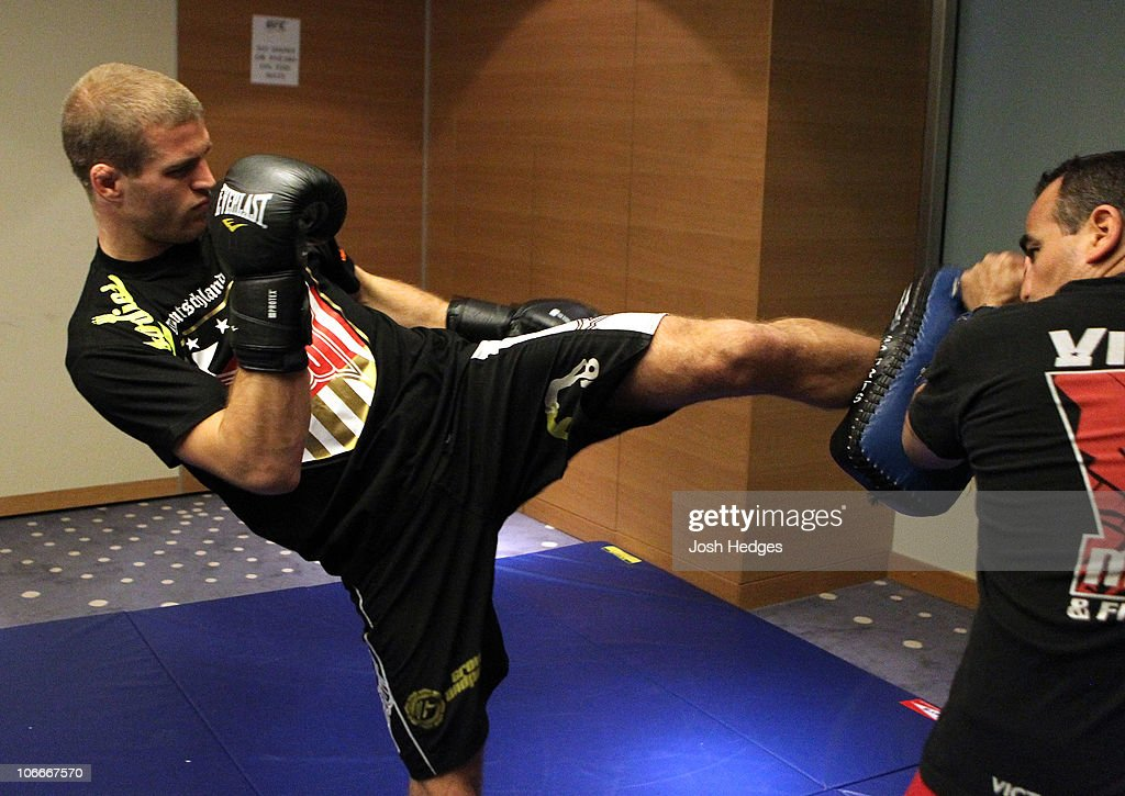 Pascal Krauss of Germany (L) works out at the UFC 122 open workouts at the Hilton Hotel on November 10, 2010 in Dusseldorf, Germany.