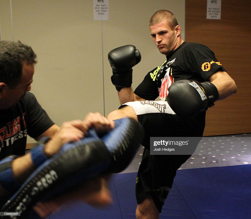 Pascal Krauss of Germany (R) works out at the UFC 122 open workouts at the Hilton Hotel on November 10, 2010 in Dusseldorf, Germany.