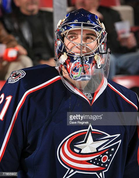 Pascal Leclaire of the Columbus Blue Jackets during a stoppage in play in the NHL game against the Detroit Red Wings on November 9 2007 at Joe Louis...