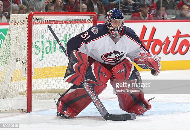 Pascal Leclaire of the Columbus Blue Jackets guards his net against the Montreal Canadiens at the Bell Centre on February 23 2008 in Montreal Quebec...