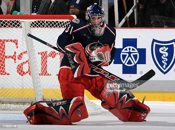 Pascal Leclaire of the Columbus Blue Jackets makes a chest save during the NHL game against the Detroit Red Wings on November 9 2007 at Joe Louis...