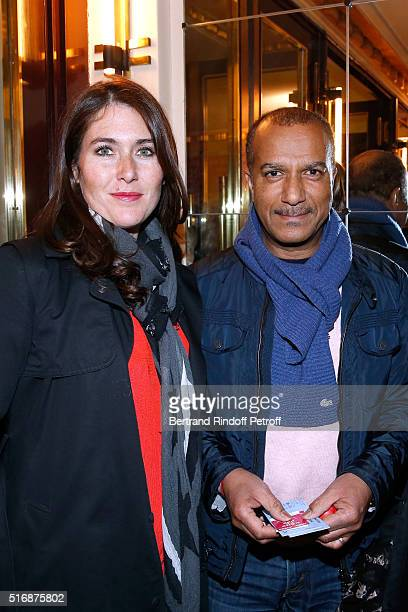 Pascal Legitimus and his wife Adriana Santini attend the 'L'Etre ou pas' Theater play at Theatre Antoine on March 21 2016 in Paris France