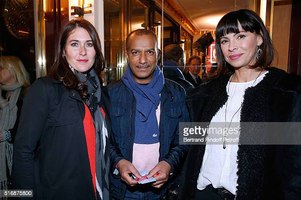 Pascal Legitimus his wife Adriana Santini and Mathilda May attend the 'L'Etre ou pas' Theater play at Theatre Antoine on March 21 2016 in Paris France