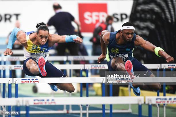 Pascal Martinot Lagarde and Aurel Manga during the Athletics French Championship Indoor on February 17 2018 in Lievin France