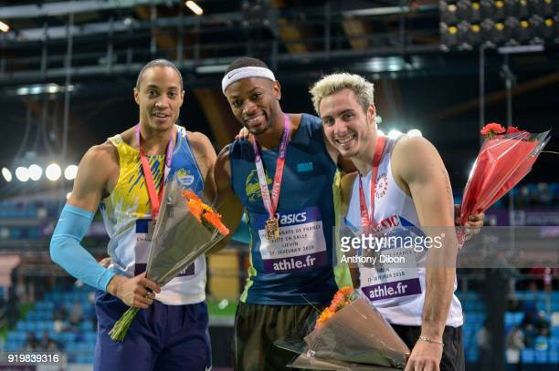 Pascal Martinot Lagarde Aurel Manga and Simon Krauss during the Athletics French Championship Indoor on February 17 2018 in Lievin France