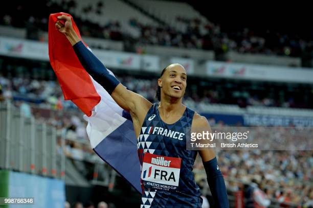 Pascal Martinot-Lagarde of France celebrates victory during the Men's 110m Hurdles during day one of the Athletics World Cup London at the London...