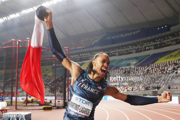 Pascal Martinot-Lagarde of France celebrates winning bronze in the Men's 110 metres hurdles final during day six of 17th IAAF World Athletics...