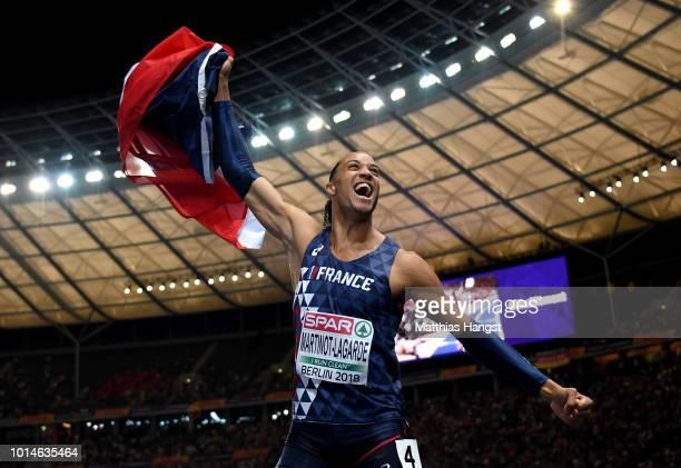 Pascal MartinotLagarde of France celebrates winning Gold in the Men's 110m Hurdles Final during day four of the 24th European Athletics Championships...