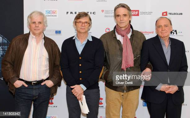 Pascal Mercier Bille August Jeremy Irons and Bruno Ganz pose during a photocall at the Hotel Bellevue on March 14 2012 in Bern Switzerland Director...