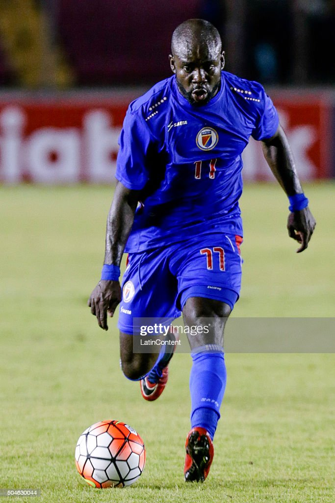 Pascal Millien of Haiti drives the ball during the match between Trinidad & Tobago and Haiti as part of the Copa America Centenario Qualifiers at Rommel Fernandez Stadium on January 08, 2016 in Panama City, Panama.